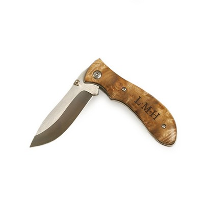 Monogrammed Burl Wood Pocket Knife with 3 inch Blade