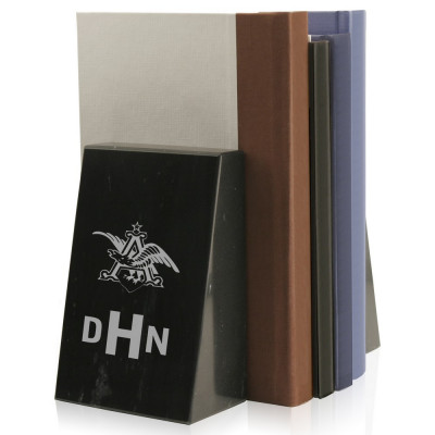 Monogrammed Corporate Logo Personalized Black Marble Bookends