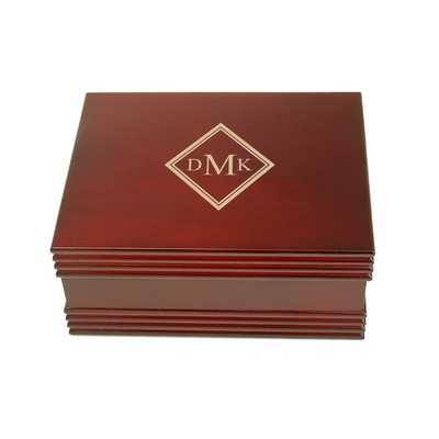 Monogrammed Mens Rosewood Jewelry Valet Box