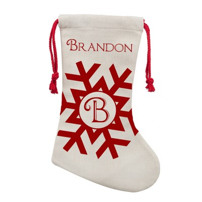 Monogrammed Snowflake PolyLinen Christmas Stocking
