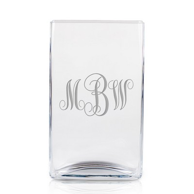 Monogrammed Tall Glass Vase