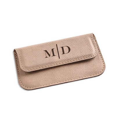 Monogrammed Tan Leaterette Business Card Case