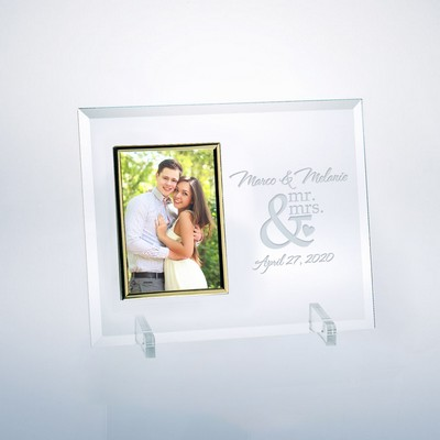 "Mr and Mrs Glass Vertical 4"" X 6"" Photo frame"