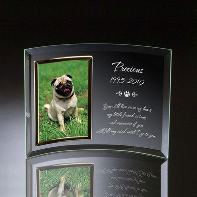 Pet Memorial Curved Glass Vertical 4x6 Photo frame