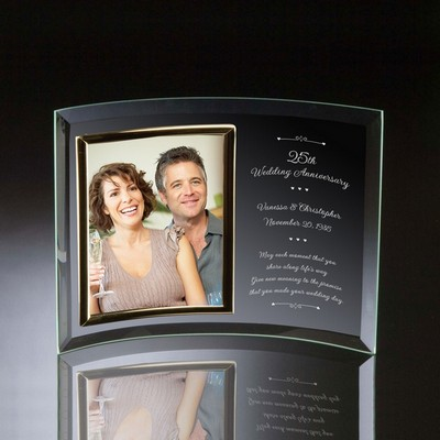 25th Wedding Anniversary Curved Glass Vertical 8x10 Photo frame