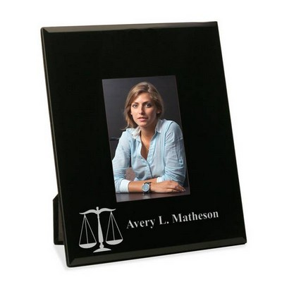 Personalized Glass Picture Frame with Legal Scales of Justice