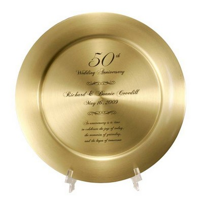 Impressive Personalized 50th Anniversary Solid Brass Keepsake Plate