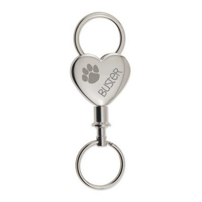 Paw Print Heart Keychain for Pet Owner