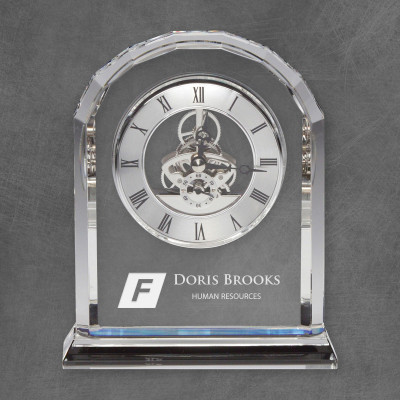 Beveled Edge Personalized Crystal Desk Clock