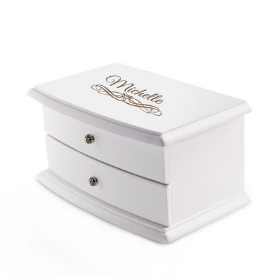 Personalized 2 Compartment Elegant White Jewelry Box with Red Lining