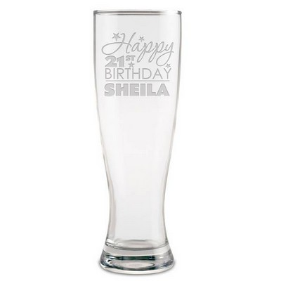 Personalized 21st Birthday Beer Glass