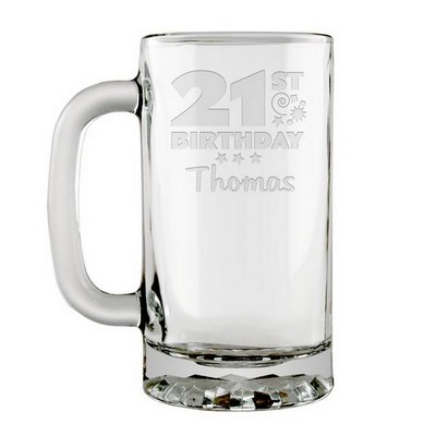 Personalized 21st Birthday Glass Beer Mug