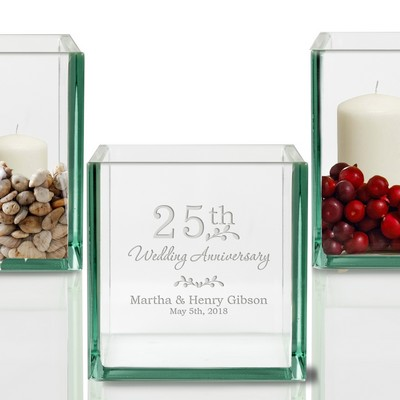Personalized 25th Anniversary Glass Cube Candle Holder