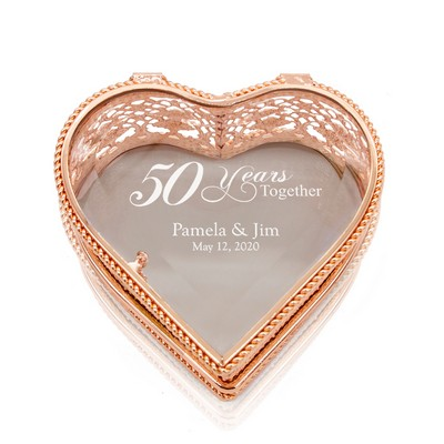 Attractive Personalized 50th Anniversary Rose Gold Heart Jewelry Box