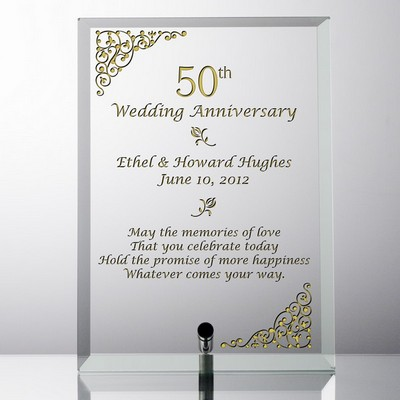 Elegant Personalized 50th Wedding Anniversary Glass Plaque