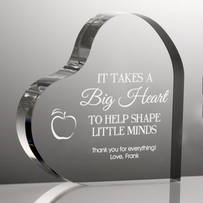 Personalized Acrylic Heart Shaped Plaque for Teachers