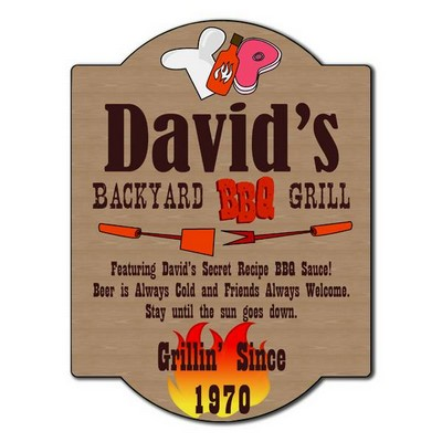 Personalized Backyard Barbeque Grill Sign