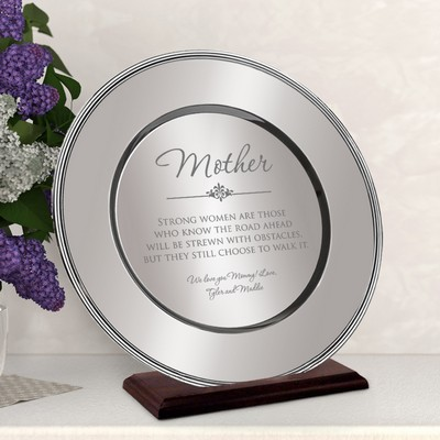Personalized Beautiful Silver Plate for Mom on a Wood Stand