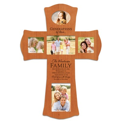 Personalized Cherry Wood Photo Collage Wall Cross