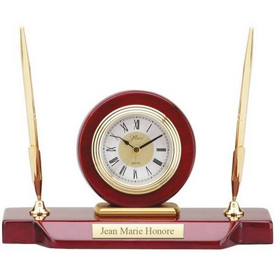 Personalized Desk Clock with Double Pen Stand