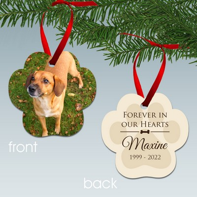 Personalized Dog Paw Print Memorial Photo Ornament