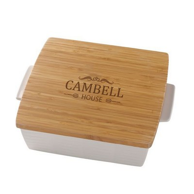Lenox Personalized Family Square Baker with Bamboo Lid