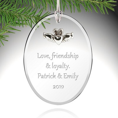 Personalized Glass Claddagh Ornament