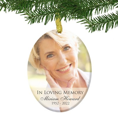 Personalized Glass Memorial Oval Photo Ornament