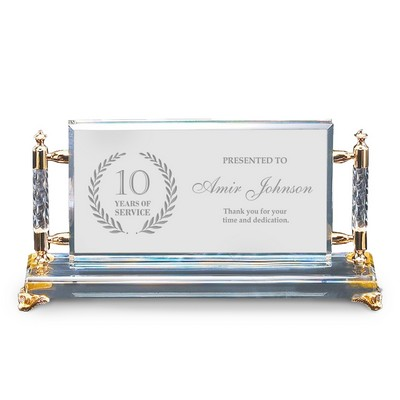 Outstanding Personalized Years of Service Gold Accent Crystal Award
