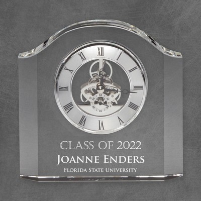Engraved Graduation Heavy Crystal Clock