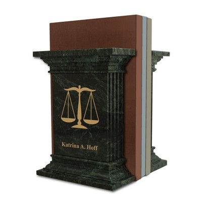 Personalized Green Marble Lawyer Bookends with Scales of Justice