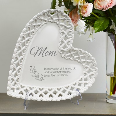 Exquisite Personalized Heart Porcelain Plate with Heart Lace Rim for Mom