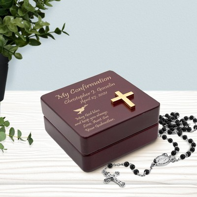 Personalized Inspirational Wooden Confirmation Rosary Box