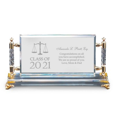 Unique Personalized Law School Graduation Gold Accent Crystal Plaque
