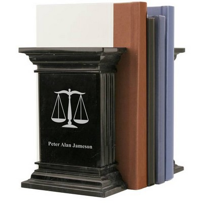 Personalized Black Marble Lawyer Bookends with Scales of Justice