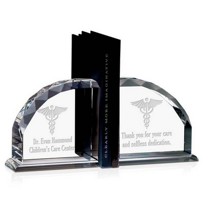 Personalized Medical Caduceus Crystal Bookends