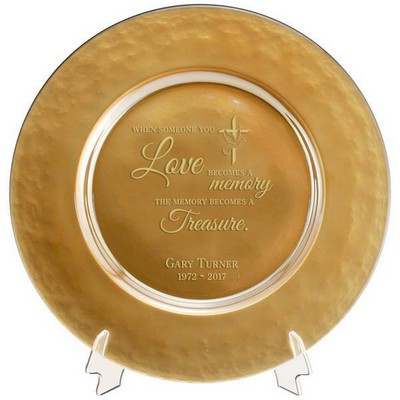 Personalized Memorial Gold Glass Plate