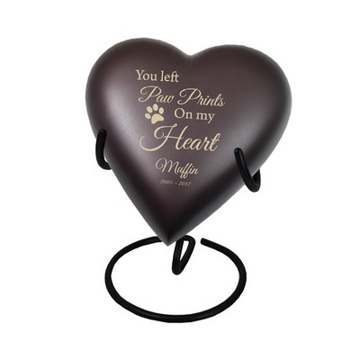 Personalized Memorial Heart Pet Urn with Stand