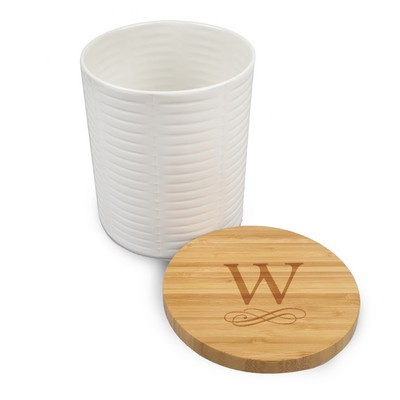 Lenox Personalized Monogrammed Wide Canister with Bamboo Lid