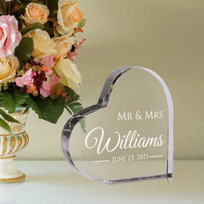 Personalized Mr & Mrs Crystal Keepsake Heart
