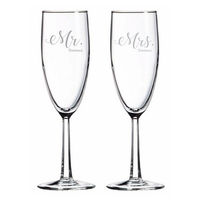 Personalized Mr. and Mrs. Glass Toasting Flute Set