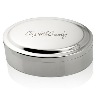 Personalized Oval Silver Keepsake Box