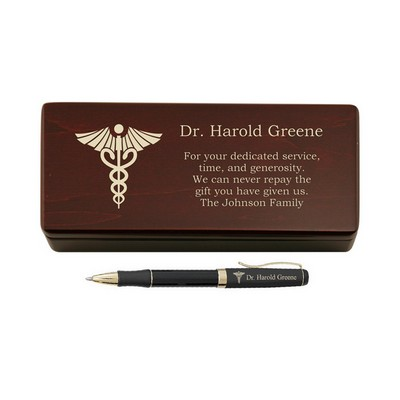 Personalized Pen for Doctors in a Rosewood Box