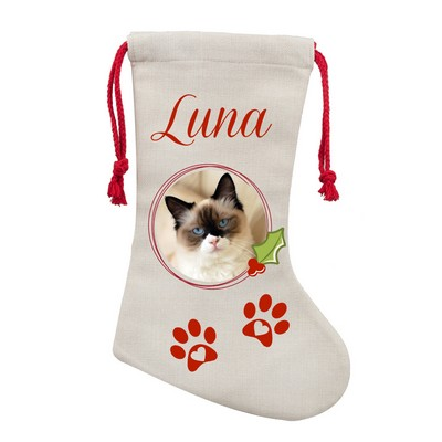 Personalized Pet Poly Linen Christmas Stocking