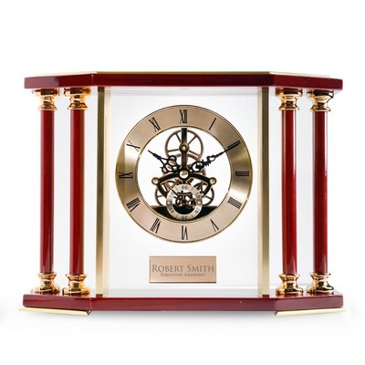 Personalized Piano Finish Rosewood and Gold Mantel Clock