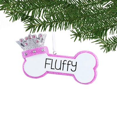 Personalized Pink Dog Bone Ornament with Crown