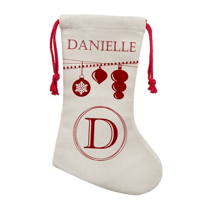 Personalized Poly Linen Christmas Stocking
