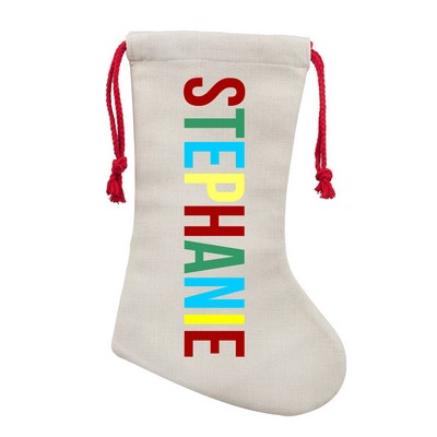 Personalized Festive Poly Linen Christmas Stocking