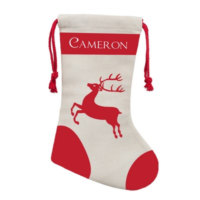 Personalized Holiday Reindeer Poly Linen Christmas Stocking