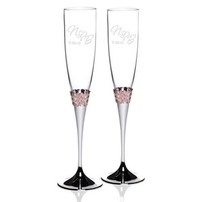 Personalizeed Rose Gold Band Lenox Glass Champagne Flute Set